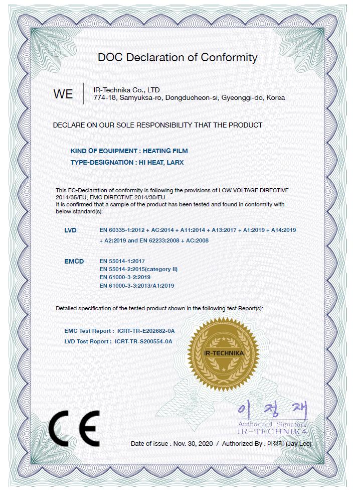 LARX UHLÍKOVÉFÓLIE.CZ Certifikát
